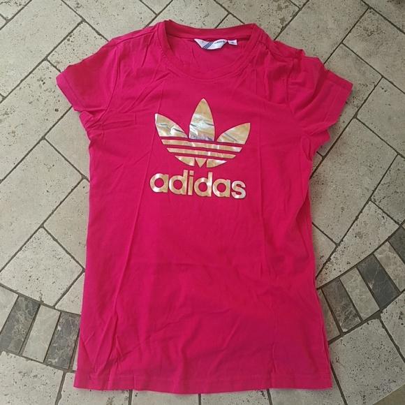 87b61fe719 NWOT Pink silver adidas t shirt US 10